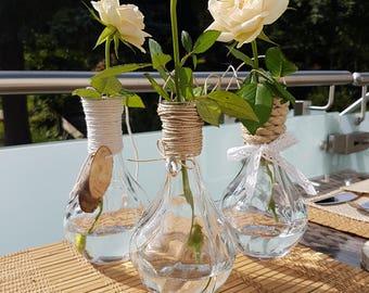 Light bulbs look set of 3, garden, wedding decoration, decorations, for hanging, eye-catcher, Lightbulbs look, wedding, garden, glass vase vintage