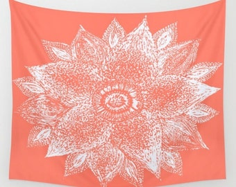 Coral Flower Wall Tapestry, flower wall tapestry, coral flower tapestry, floral wall tapestry, flower wall tapestry, pink flower tapestry