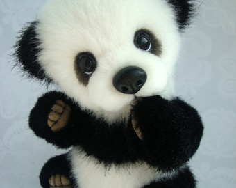 Teddy panda Po, 5.2 inches. Мake to order. Stuffeed Teddy Bears. Plush toy. Stuffed panda toy. Panda plush toy.