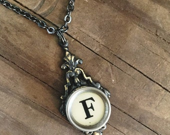 Letter F  Typewriter Key Necklace Wedding Jewelry