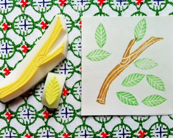 twig & leaf rubber stamp set   diy woodland birthday christmas card making   autumn gift wrapping   hand carved by talktothesun   set of 2
