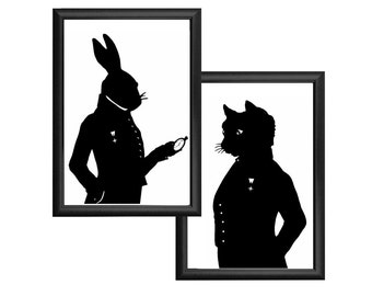 The White Rabbit Cheshire Cat Alice In Wonderland Silhouette Print Set Black and White Bunny Hare Lewis Carroll