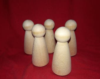 Set of 5 Wood Little People - Doll Body Women Lady Mom Angel Unfinished Wood
