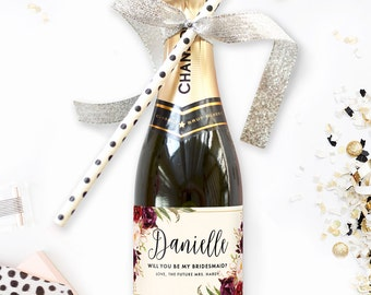 Set of Will You Be My Bridesmaid Mini Champagne Labels - Great for Winter Wedding Bridesmaid Boxes or Bride Tribe Proposal