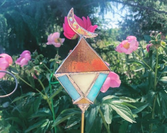 Moon Stained Glass Planter Stick