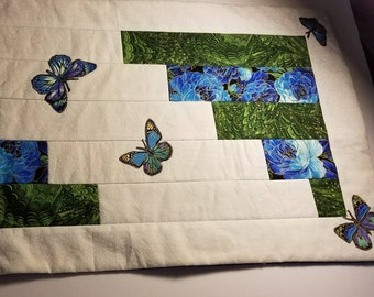 Quilted table runner table topper table decor homemade Butterflies Handmade