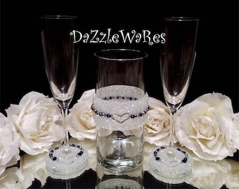 FLUTES & BOUQUET VASE Wedding Champagne Toast-Navy Silver-Custom-Hand Beaded-Special Occassion-Anniversary-Couture-Bridal-Crystal,Rhinestone