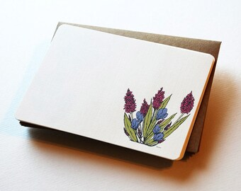 Garden Blooms Notecard Set in Berry, Periwinkle, Green and Cream - Set of 6 flat Notecards and Kraft Envelopes