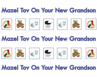 Jewish cards etsy new grandson jewish greeting cards mazel tov jewish cards english text blue colours handmade in england blank inside 1 2 or 4 cards m4hsunfo