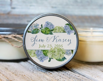 Set of 12 - 4 oz Wedding Favor Candle//Hydrangea Favor//Lavender Wedding//Floral Wedding Favor//Personalized Wedding//Rustic Favor
