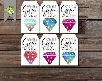teacher Jewelry gift tag, jewel tag, gem tag, you're a Gem, Teacher Appreciation, printable, Mother's Day tag, birthday tag, Christmas tag