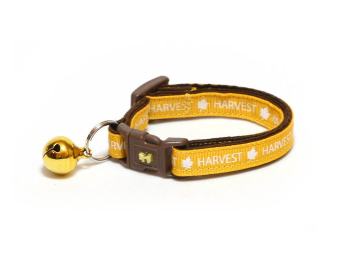 Fall Cat Collar - Harvest Time on Yellow - Small Cat/ Kitten Size or Large Size Collar