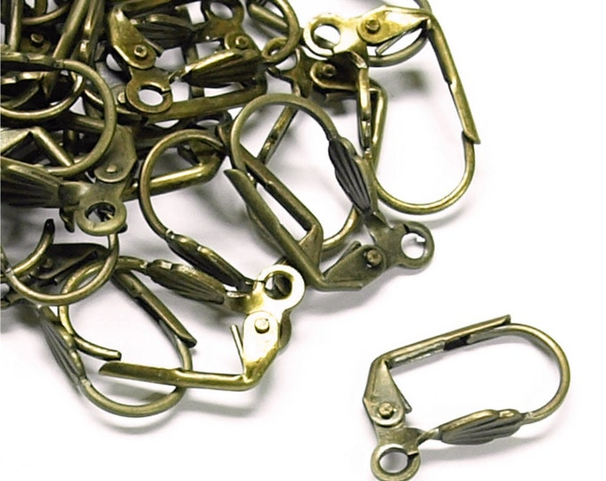 Earwire, Leverback Shell, Antique Brass - 10 Pieces (EWBAB-LBS)
