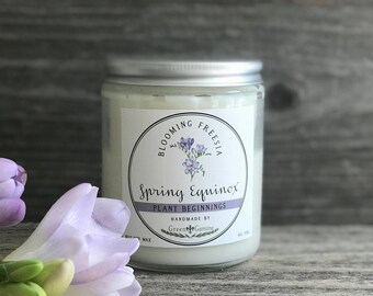 Homemade Spring Soy Candle - Spring Equinox Freesia Scented, Spring candle, Floral Candle, Handmade Artisan Candle