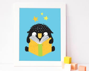 reading nursery decor - classroom poster - reading poster - cute monster decor - kids poster - poster for boy - INSTANT DOWNLOAD