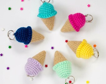 Crochet Ice Cream Cone Keychain