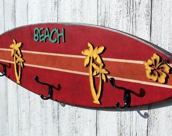 Surfboard Towel Hook Bathroom Beach Decor Beach House Surf Decor Kids Surfboard Decor Surfer Girl Surfing Decor Surfboard Surfing Home Decor