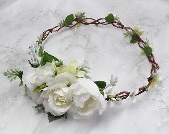 white flower crown, white floral crown, peony flower crown, bridal headpiece, peony floral crown, green flower crown, wreath, wedding crown