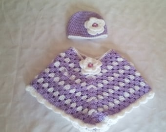 baby girl poncho , poncho and hat set age 0-6 months, crochet baby poncho, baby poncho, baby girl poncho, girl poncho,crochet poncho