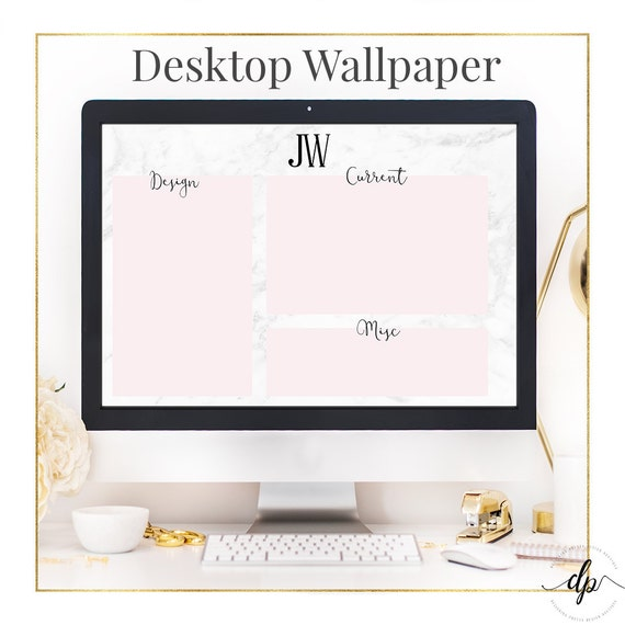Desktop Wallpaper Marble And Blush Monogram