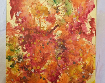 "colourful wax crayon on canvas ""golden october"""