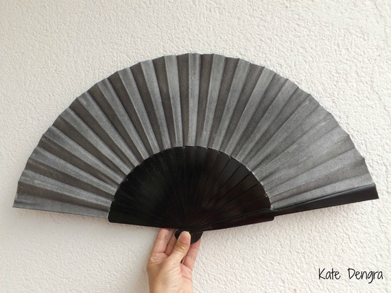 XL Black Gray Hand Fan Ready To Customize