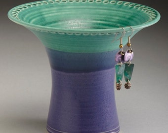 Ceramic Earring Holder - Turquoise and Purple