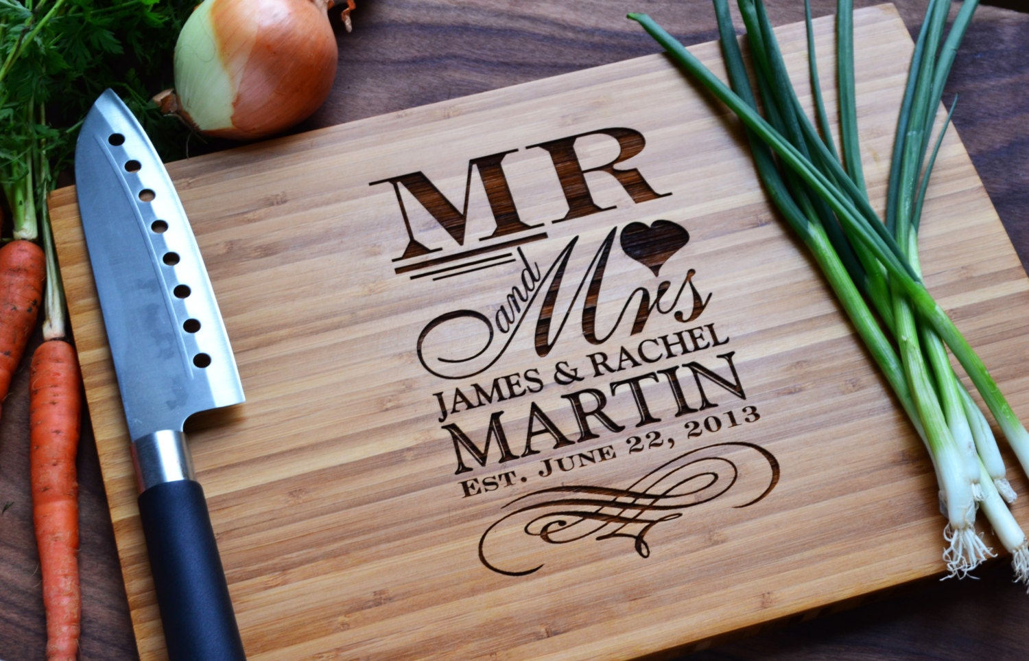 Personalized Cutting Board Mr And Mrs Engraved