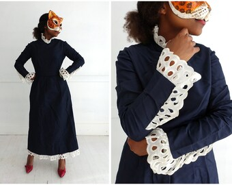 Vintage 1970's Navy Blue Midi Dress with Oversized Lace Collar and Cuffs By Joan Leslie | Small