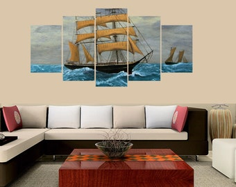 Premium Quality Canvas Printed Wall Art Poster 5 Pieces / 5 Panel, Clipper Ships at Sea Canvas , Home Decor Pictures - With Wooden Frame