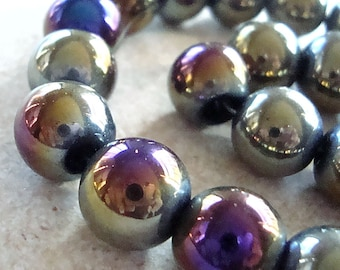 Glass Beads 12mm Iridescent Blue/Black Rainbow Aurora Borealis Smooth Rounds - 8 Pieces