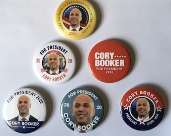 Cory Booker For President Set of 6 Campaign Buttons (BOOKER-ALL)