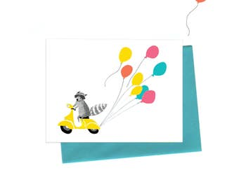 Vespa Raccoon Birthday Card, Raccoon on a Vintage Vespa Birthday Greeting Card with Balloons