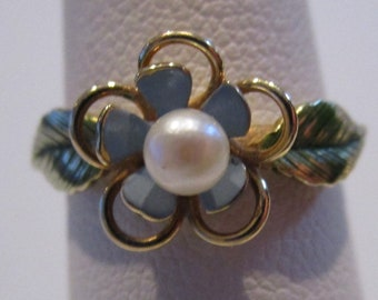 14K Nouveau Enamel And Seed Pearl Forget Me Not Krementz Ring