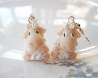 White sheep,polymer clay earrings,little lamb,fimo earrings,sheep