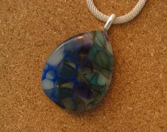 Fused Glass Pendant - Pebble Pendant - Fused Glass Jewelry - Glass Pendant - Fused Glass Necklace