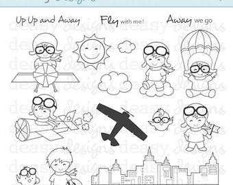 Digital Stamp Art Aero Boy