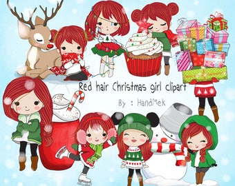 Red hair Christmas girl Clip art instant download PNG file - 300 dpi