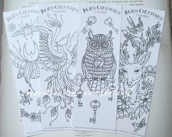lot of 4 brand pages coloring, bookmark coloring