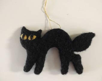Needle Felted Ornament, Two-Dimensional Halloween Black Cat