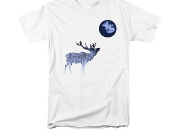 Blue Moon And Bugling Elk T-shirt, Woodland Animal Art, Wildlife Digital Design, Gift For Men Women, Southwestern Design, Uni-Sex T-Shirt