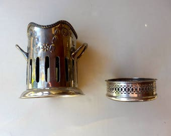 Silver plated Antique Sheffield wine coaster with a French silver plate bottle coaster holder