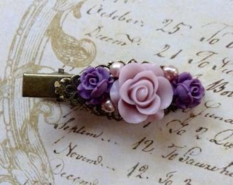 Purple And Lavender Pearl Alligator Hair Clip