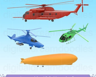 Helicopter Clipart, Helicopter Clip Art, Heli Clipart, Helo Image, Copter PNG, Chopper Graphic, Airship Scrapbook, Zepellin Digital Download