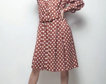 polka dot shirt dress 70s does 50s shirtwaist duster brown white LARGE L