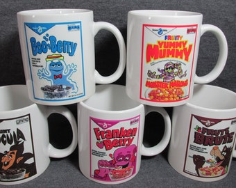 Count Chocula - Boo Berry- Franken Berry - Yummy Mummy - Frute Brute Monster Cereal 11 oz. Coffee Cups, Mugs - SET OF FIVE - Gift - Vintage