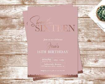 Sweet 15 invitation etsy rose gold birthday invitation filmwisefo