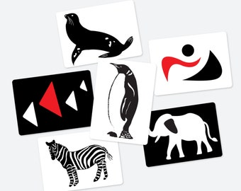 Black, White and Red Contrast Animal & Geometry 6 Cards pdf file