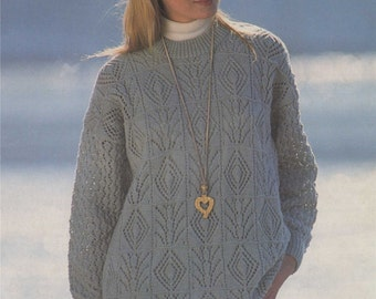 Womens Tunic Sweater PDF Knitting Pattern : Ladies 30 - 32, 34 -36 and 38 - 40 inch bust . Long Patterned Jumper . DK . Digital Download