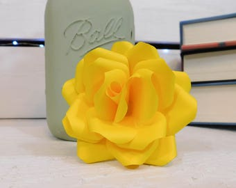 Yellow Paper Flowers - Paper flowers with stems - Paper Flower Bouquet - Mother's Day Gift - Paper Anniversary - Wedding Bouquet